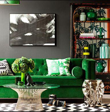 Velvet chesterfield sofa, via Eclectic Avenue